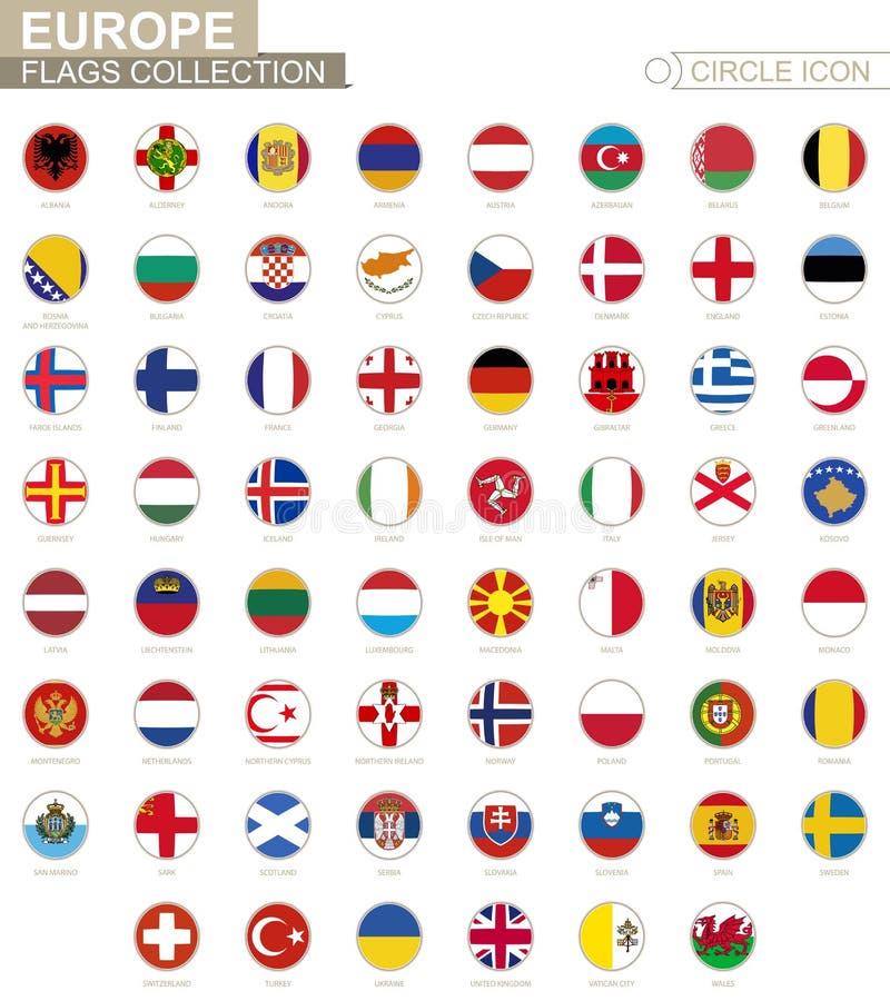 Alphabetisch sortierte Kreisflaggen von Europa Satz runde Flaggen stock abbildung