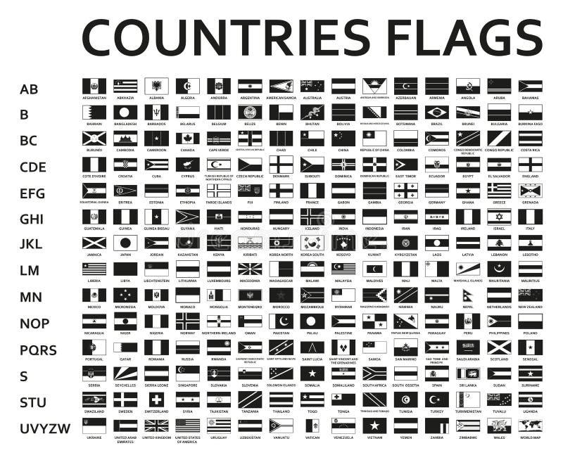 Alphabetisch sortiertes Monochrom oder schwarze Flaggen der Welt mit den offiziellen und ausführlichen Emblemen stockfoto