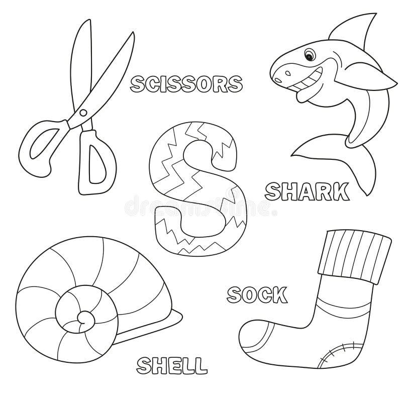 Alphabetmalbuchseite mit Entwurf Zeichen S Haifisch, Scheren, Socke, Oberteil stock abbildung