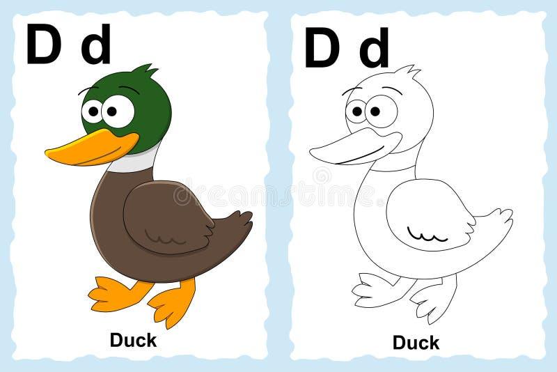 Alphabetmalbuchseite mit Entwurfsclipart zur Farbe Buchstabe D Ente stock abbildung