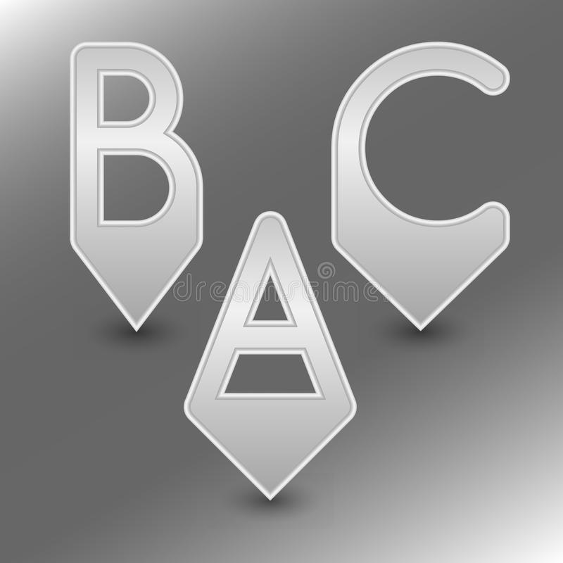 AlphabetPinsABC. ABC pins with metal design for marking places on files, maps and other. Editable vector with several layers. Eps 10 vector illustration