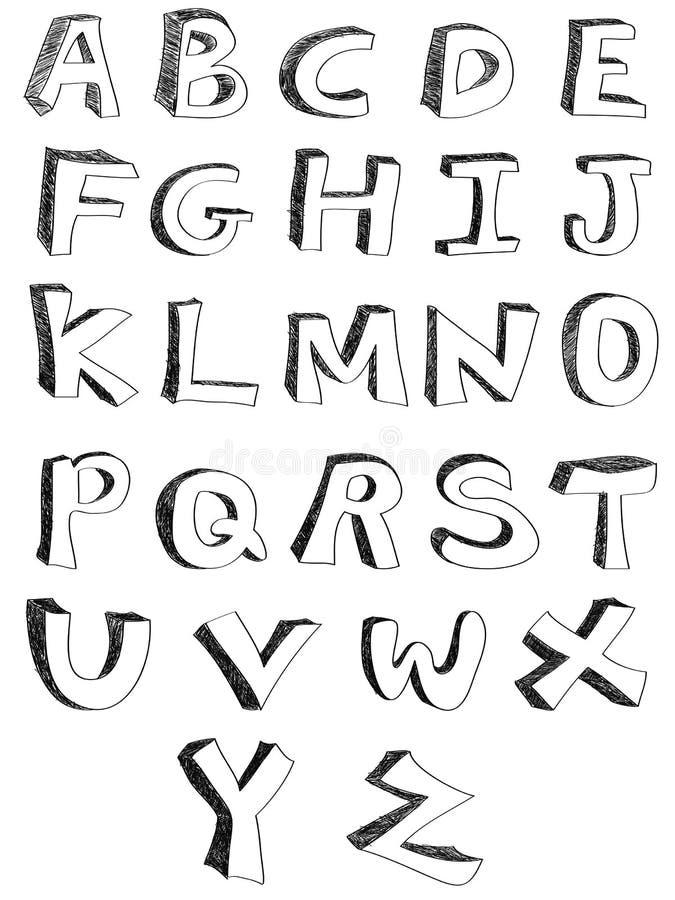 Alphabets écrits par main illustration stock