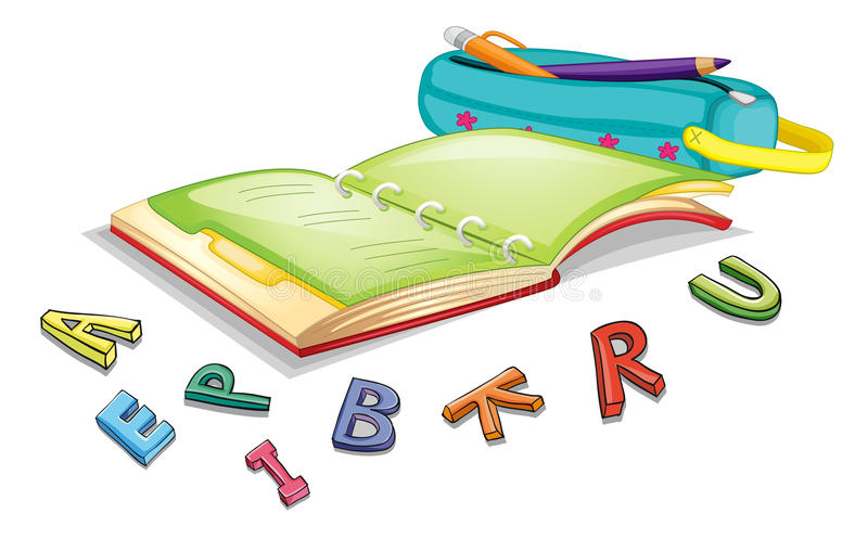 Alphabets and book. Illustration of alphabets and book on a white background vector illustration