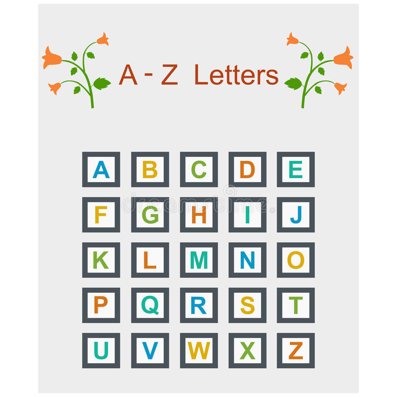 Alphabets. Coloured alphabets for kids from A to Z. Visit: https://graphixandcode.com vector illustration