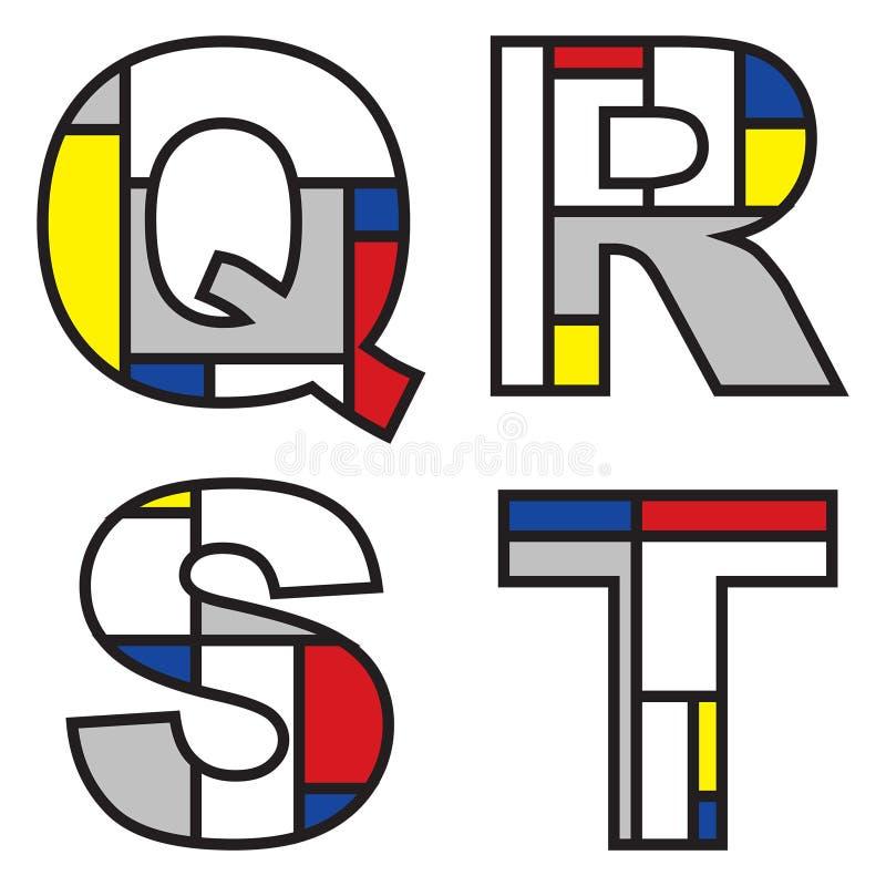Alphabets de Mondrian illustration de vecteur