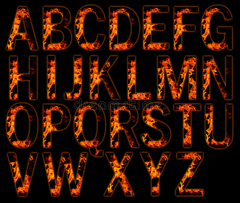 Alphabets on fire. Illustration of alphabets on fire stock illustration