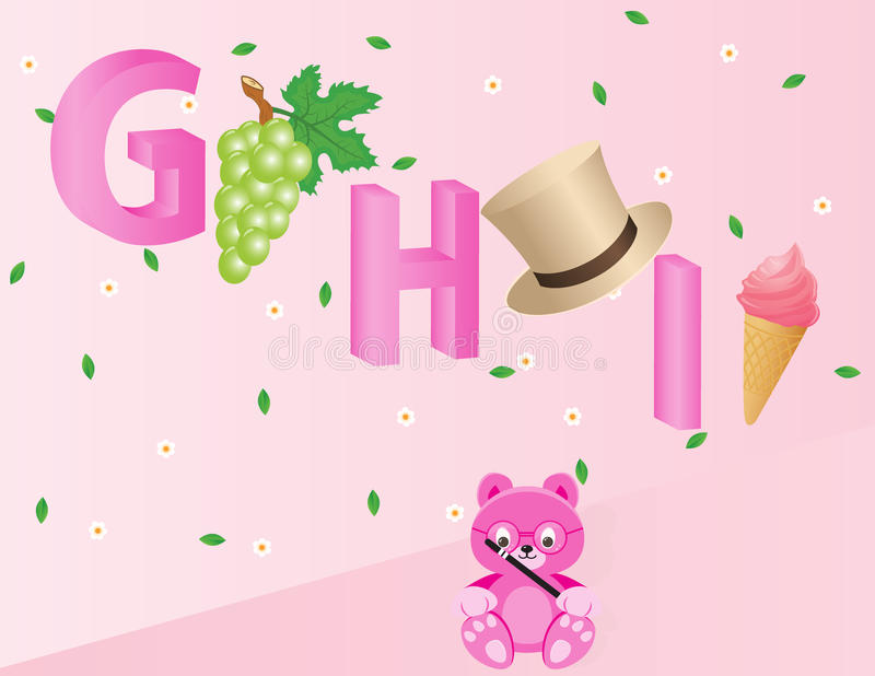 Alphabets for kids- GHI royalty free stock photography