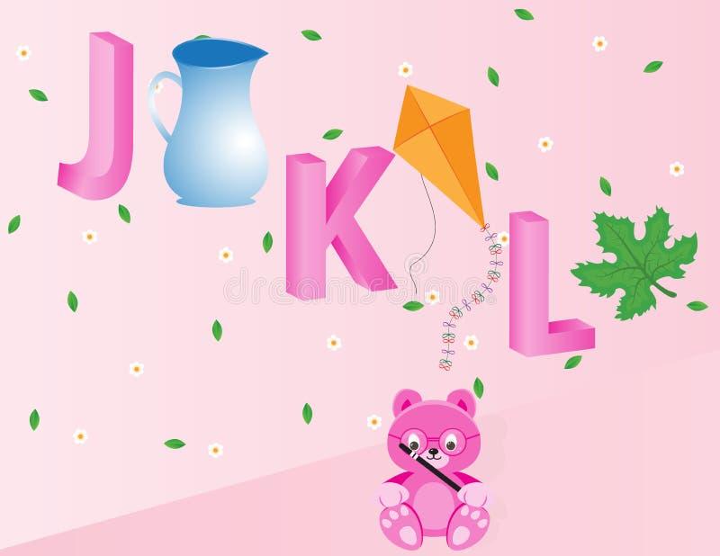 Alphabets for kids- JKL royalty free stock images