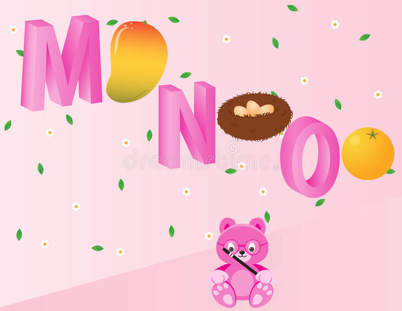 Alphabets for kids- MNO stock image