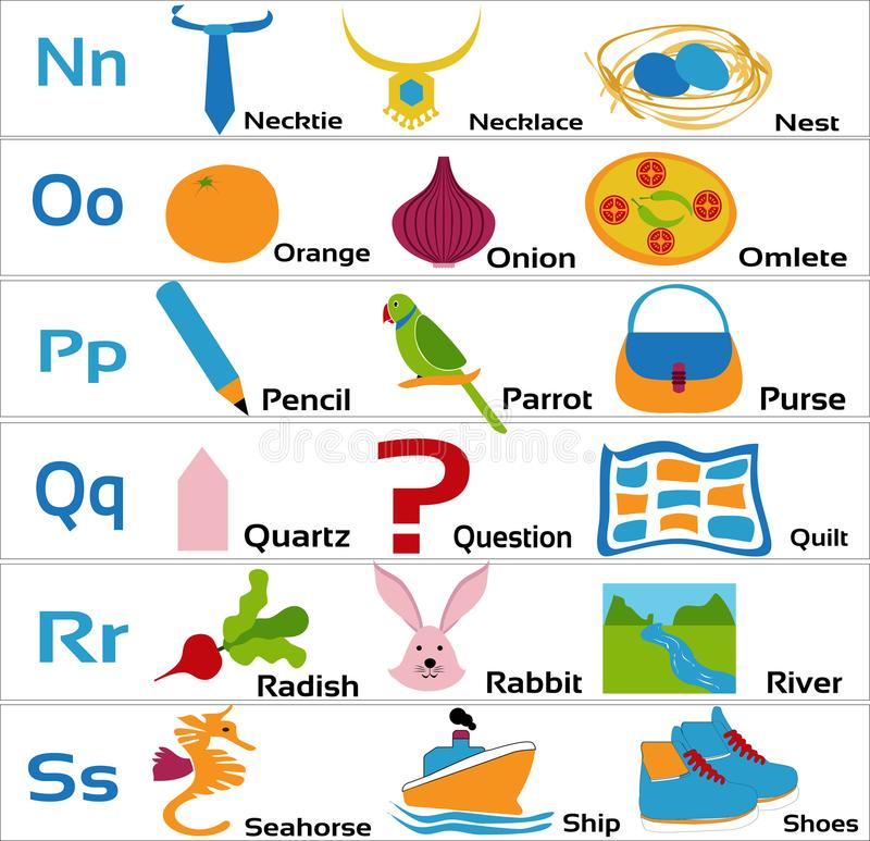 Kindergarten-alphabets-nopqrs for small children. Alphabets taught to Kindergarten children with vegetables, fruits, animals and objects vector illustration