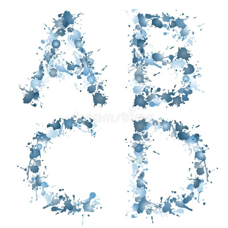 Alphabetwassertropfen ABCD lizenzfreie abbildung