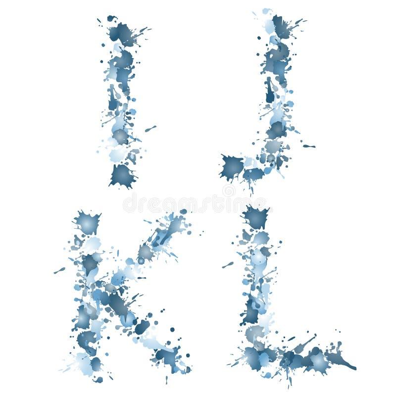 Alphabetwassertropfen IJKL lizenzfreie abbildung