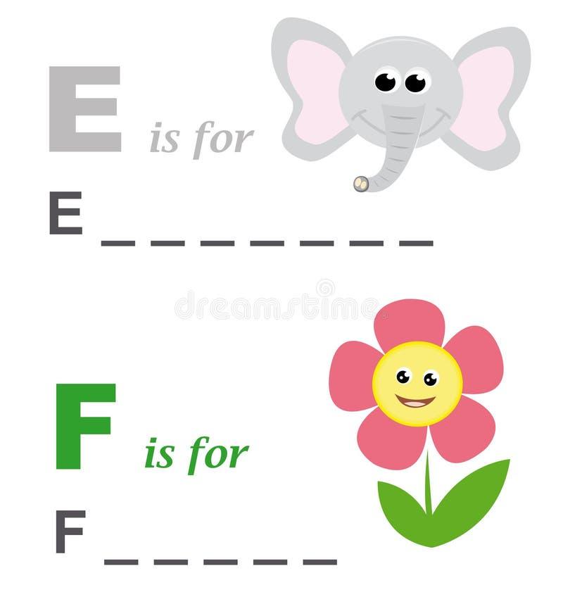 Alphabetwortspiel: Elefant und Blume stock abbildung