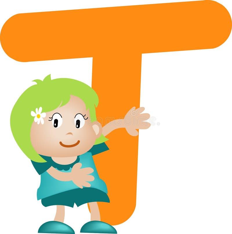 Alphabetzeichen T (Mädchen) stock abbildung