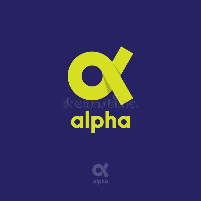 Alphalogo Alphaemblem Gelbes griechisches Buchstabe Alpha auf einem blauen Hintergrund stock abbildung