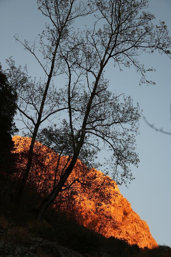 Alpi Apuane, Massa Carrara, Tosc?nia, It?lia Montanha iluminada imagem de stock