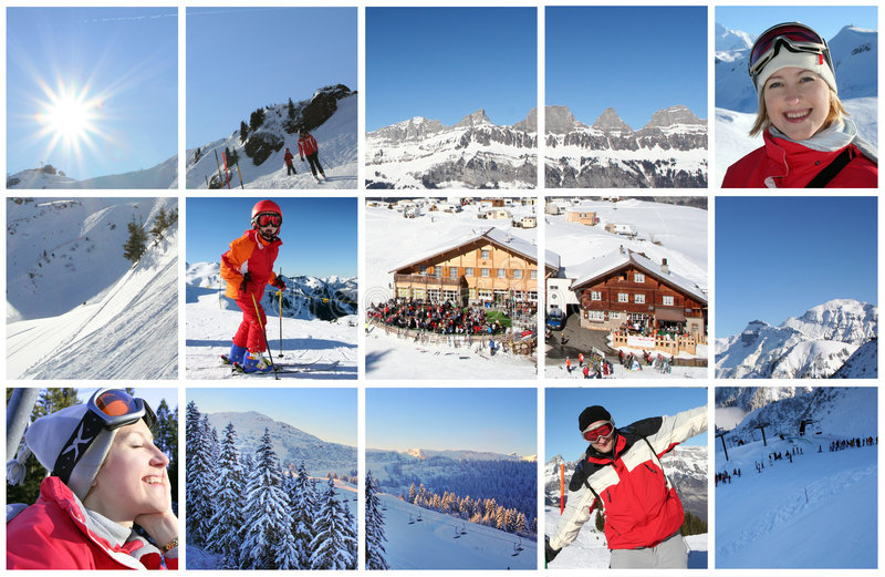 Alpi in collage fotografia stock
