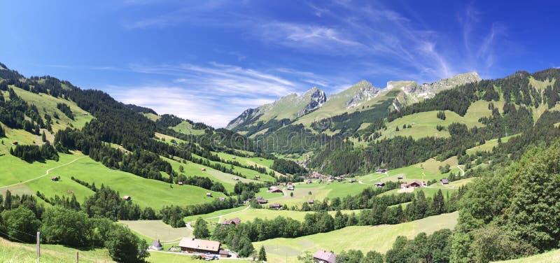 Alpien de bergpanorama van de zomer stock fotografie