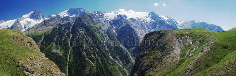 Alpien de bergpanorama van de zomer royalty-vrije stock afbeelding