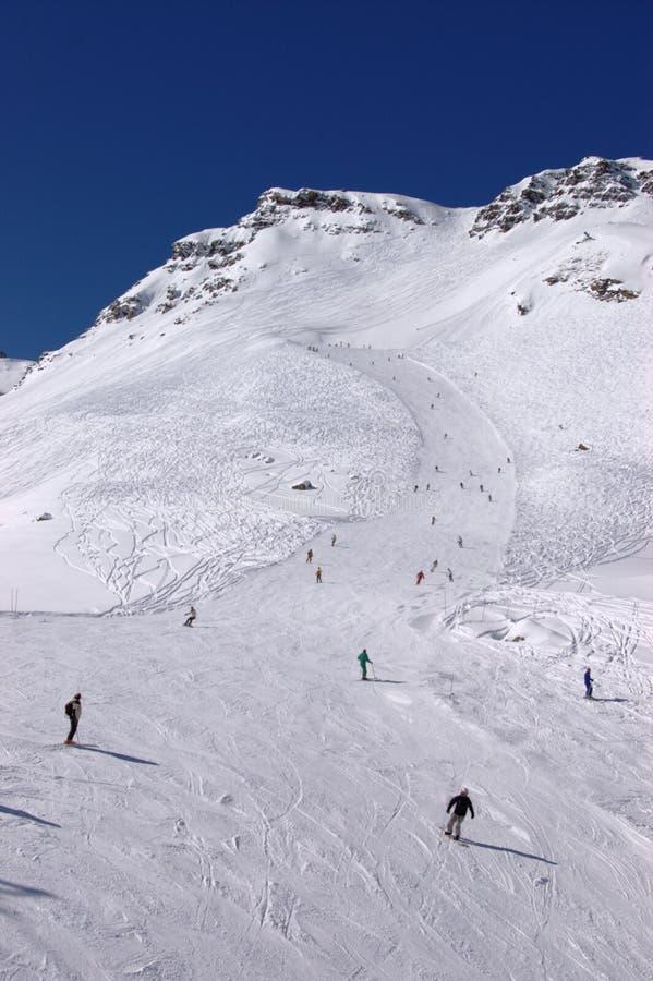 Alpien hel bergaf royalty-vrije stock afbeelding