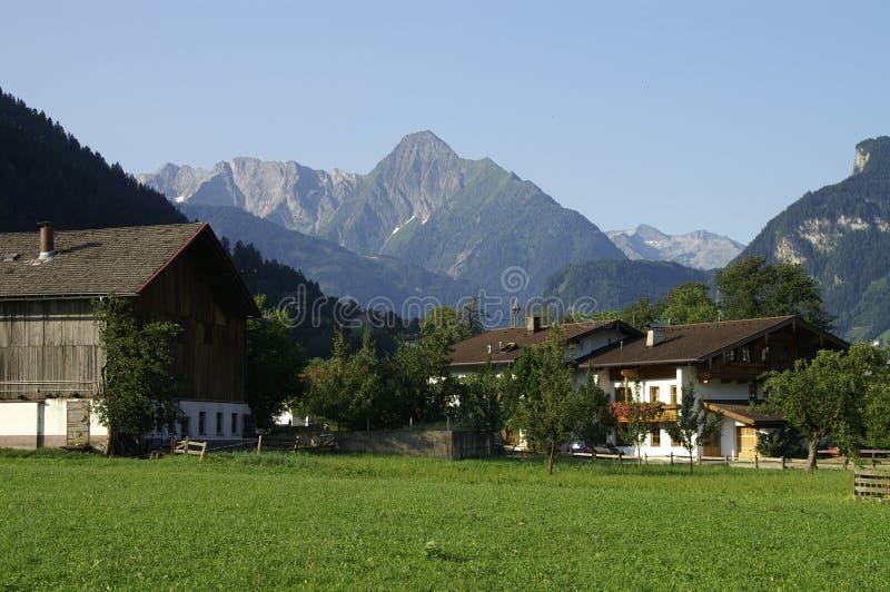 Alpien Landbouwbedrijf stock afbeeldingen