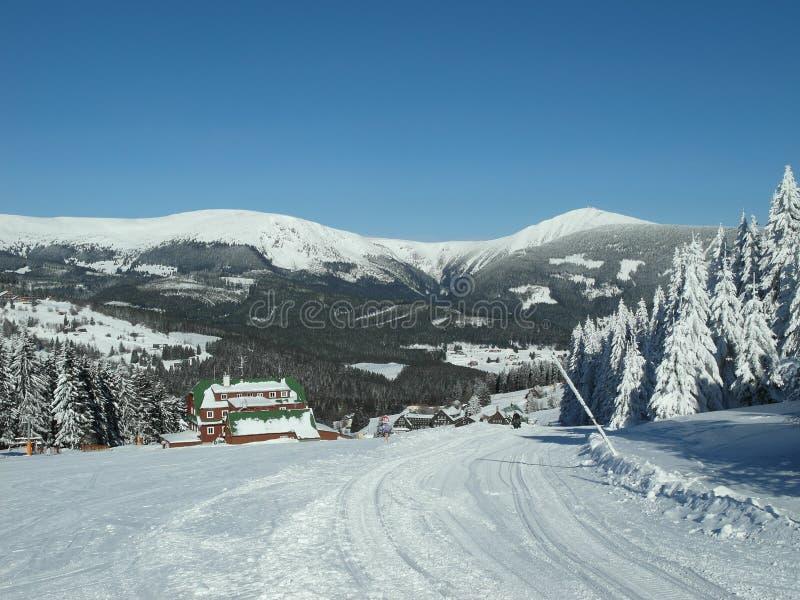 Alpien landschap in de winter onder vers sneeuwende sneeuw stock fotografie