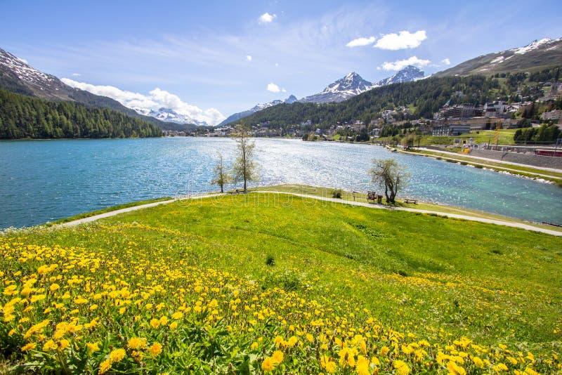 Alpien landschap met St Moritz meer, Zwitserland royalty-vrije stock afbeelding