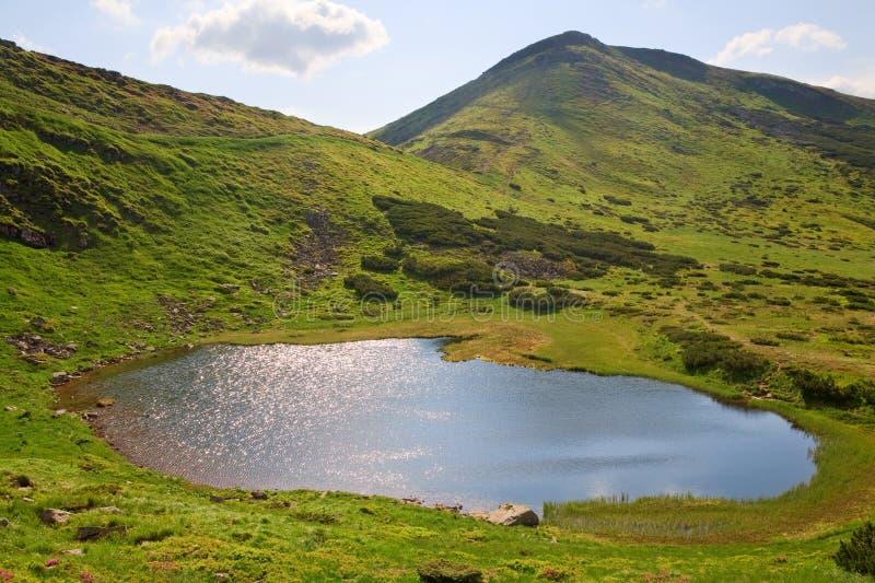 Alpien meer Nesamovyte op de zomerbergen stock foto's