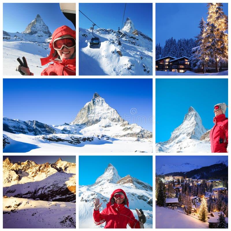 Alpiene collage stock foto's