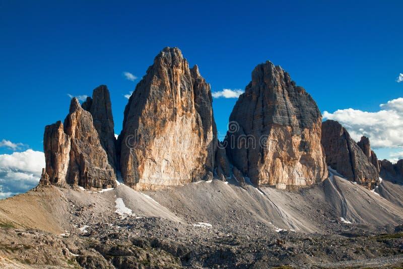 Alpiene dolomiti Italië - Tre Cime stock fotografie