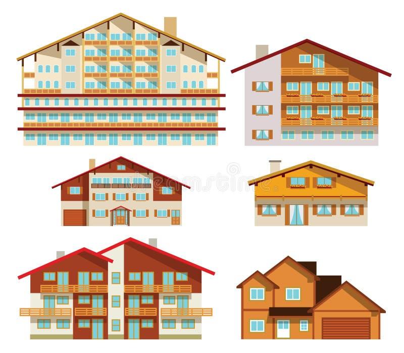 Alpiene hotels & huizen vector illustratie