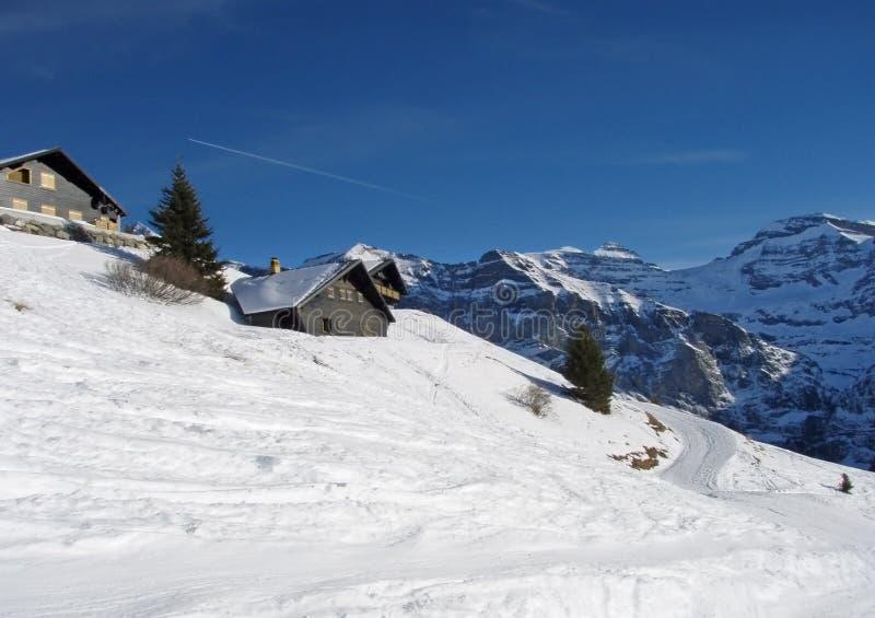 Alpiene huizen royalty-vrije stock fotografie
