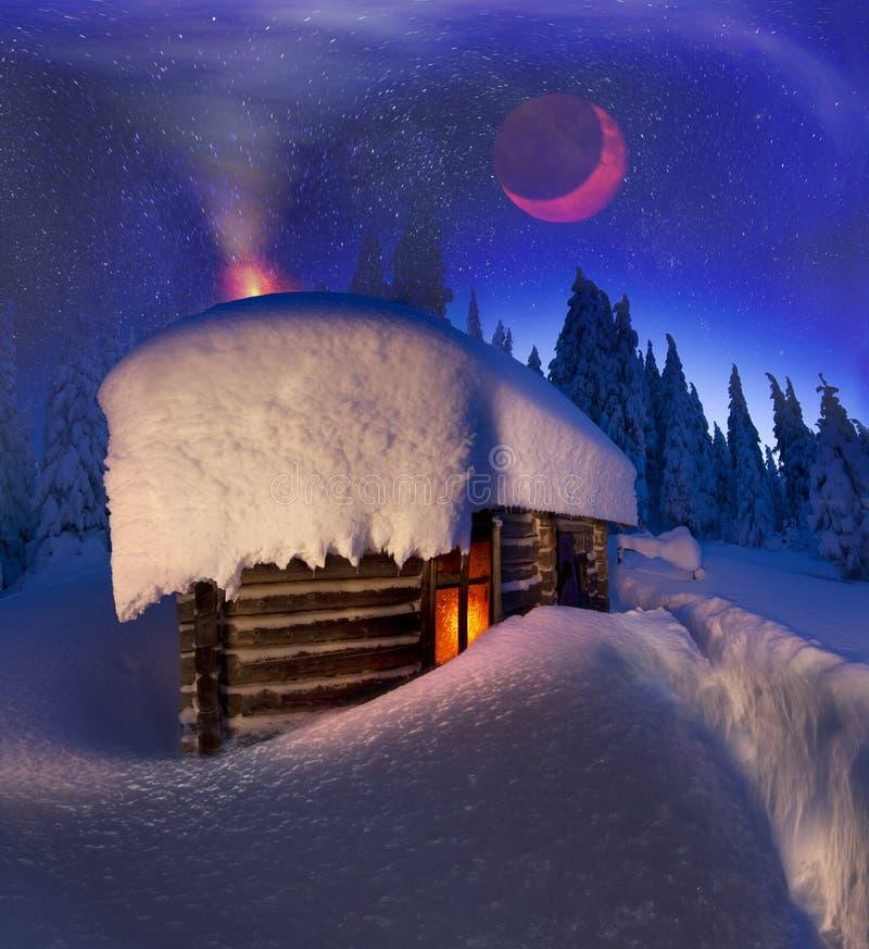 Alpiene hut in de wilde bossen stock afbeeldingen