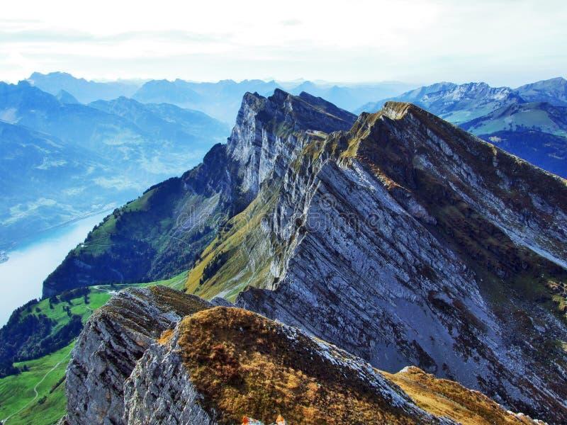 Alpiene pieken in de Churfirsten-bergketting tussen Thur-riviervallei en Walensee-meer stock afbeelding