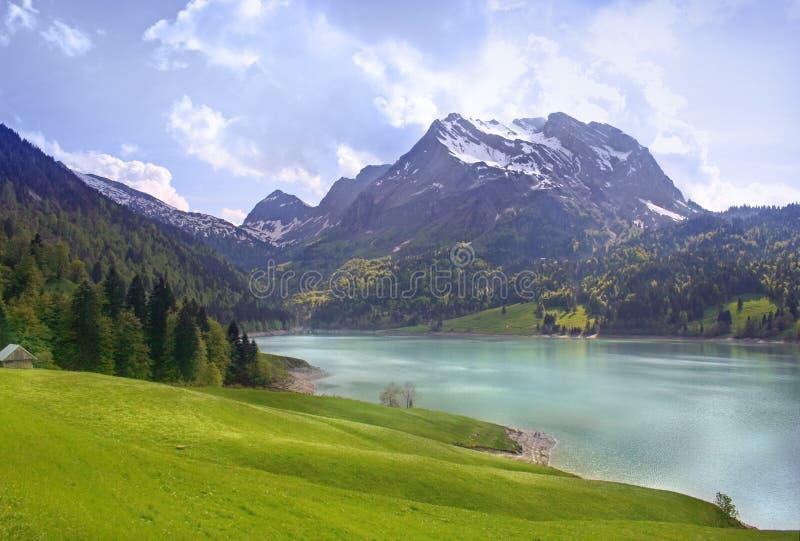 Alpiene scène op het meer royalty-vrije stock afbeeldingen