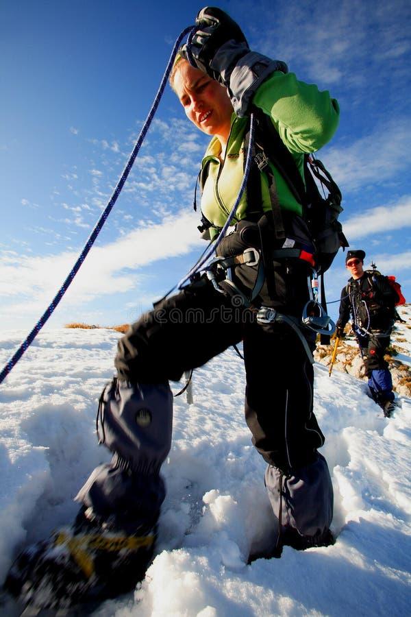 Alpiene trekkers royalty-vrije stock afbeeldingen