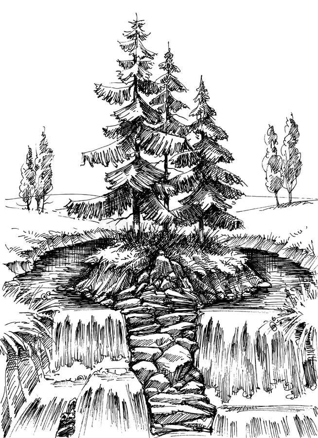 Alpiene waterval in natuurlijk landschap royalty-vrije illustratie