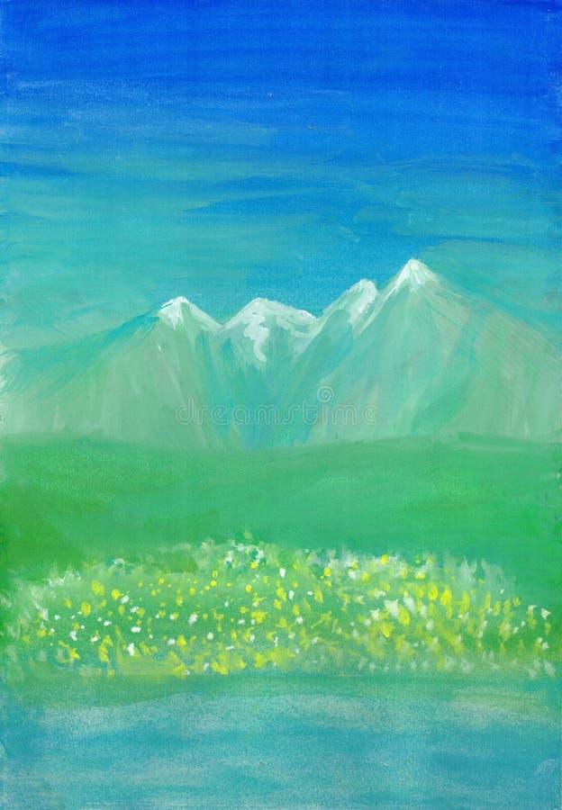 Alpiene weide in de zomer of de lente Blauw en groen berglandschap royalty-vrije illustratie