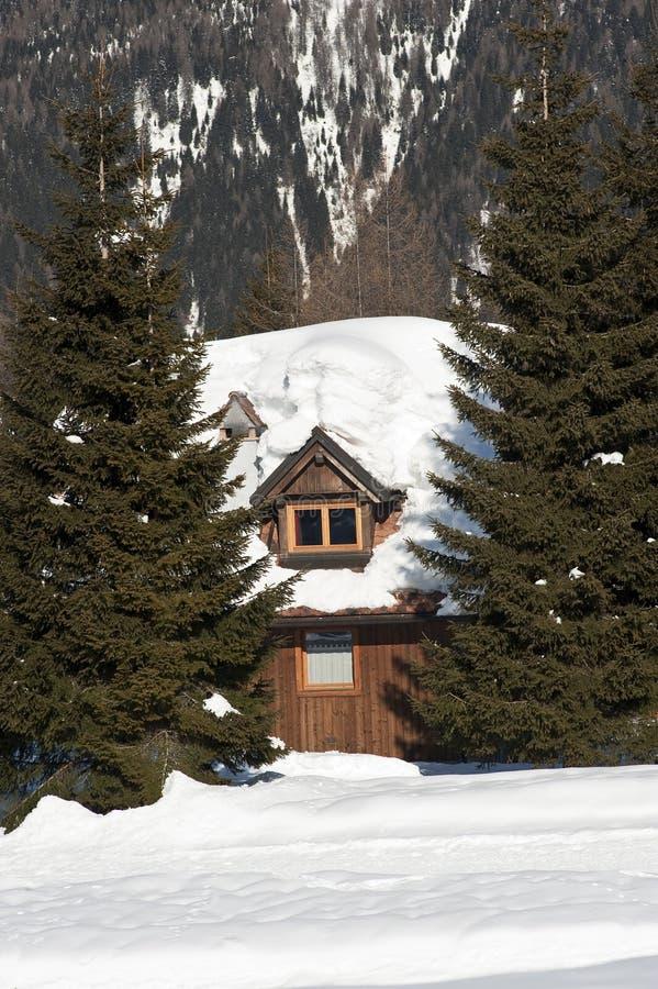 Download Alpin Chalet arkivfoto. Bild av utomhus, vinter, färg - 27282842
