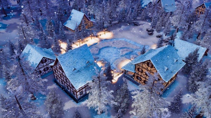 Alpin by på den bästa sikten för snöfallvinternatt stock illustrationer