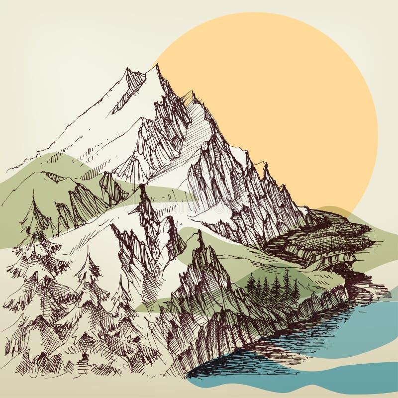 Alpin teckning för flodlandskaphand royaltyfri illustrationer