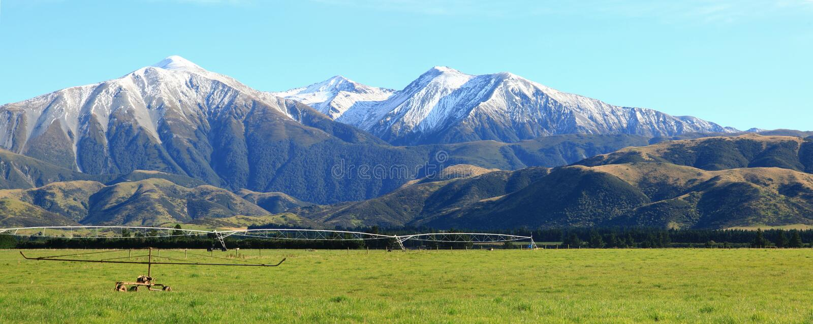 Alpine alps New Zealand. Panaramic of great southern alpine alps in New Zealand stock image
