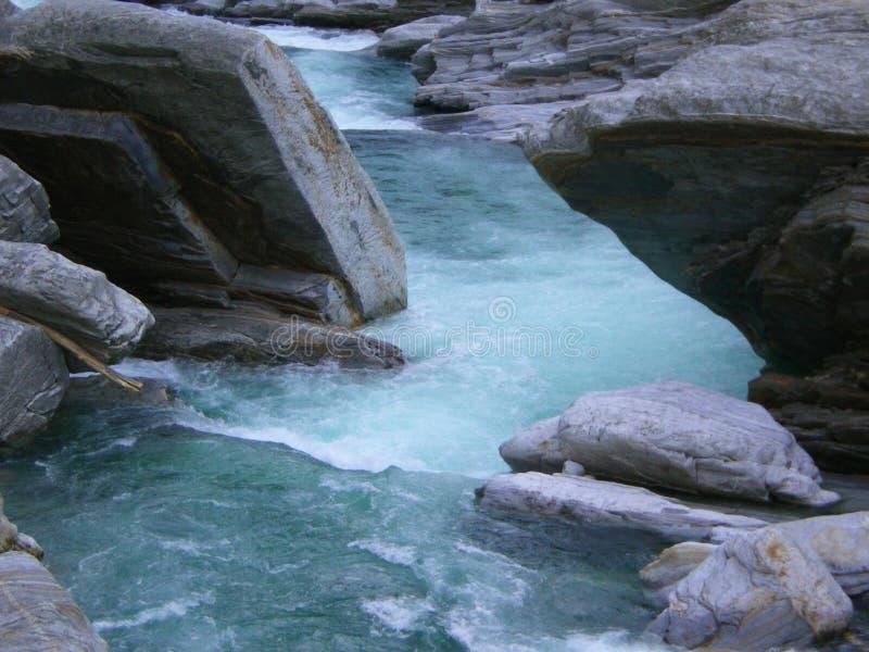 Alpine blue pool Versasca Ticino Switzerland stock photos
