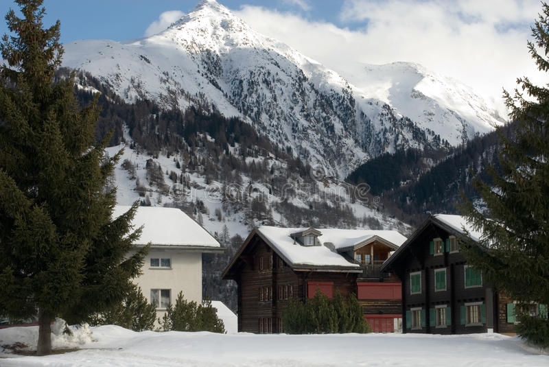 Alpine Chalets. In a small Swiss village stock photography