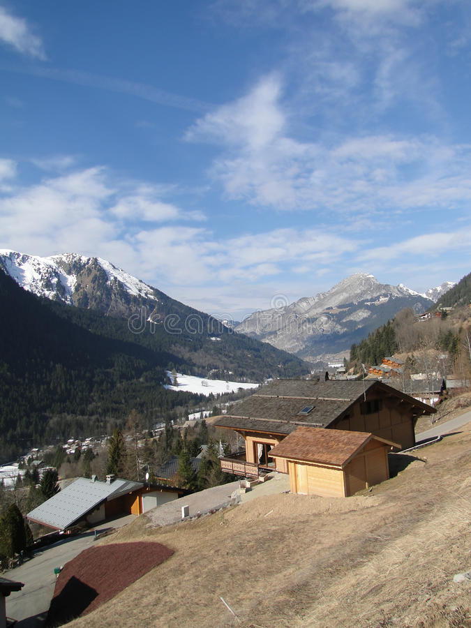 Alpine chalets. In mountain valley,Chatel, France stock images