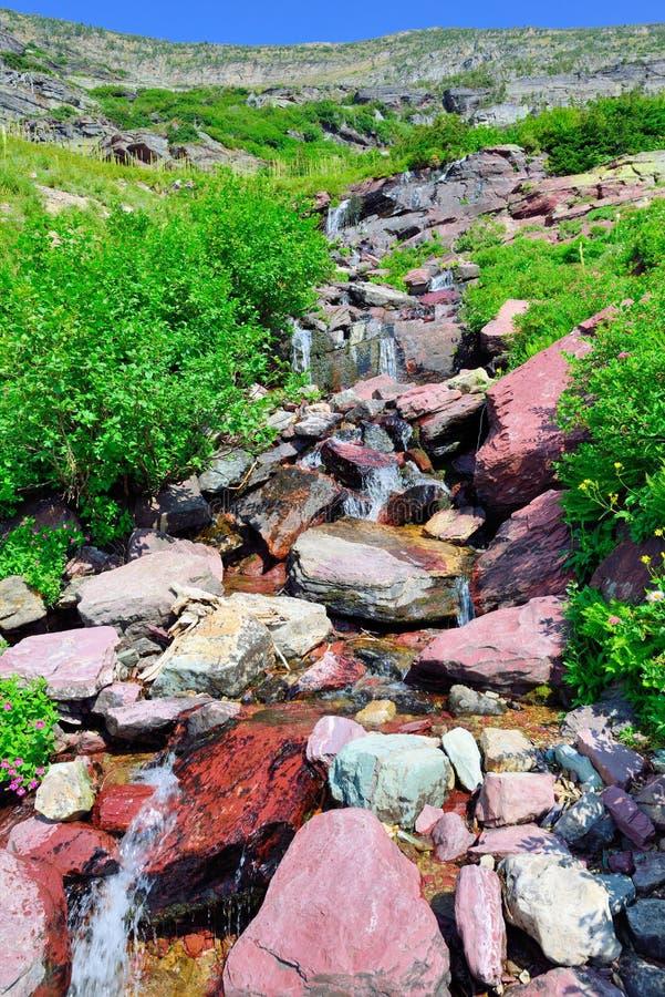 Alpine Creek alto na fuga da geleira de Grinnell no parque nacional de geleira, montana imagens de stock