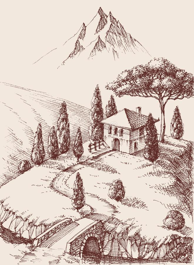 Alpine farm hand drawing royalty free illustration