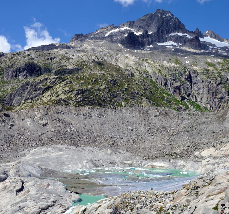 Alpine glacier melt. View of Rhone glacier from Furka pass - glacier melt royalty free stock photos