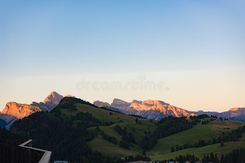 Alpine glow, Dolomites Seiser Alm, Italy stock photos