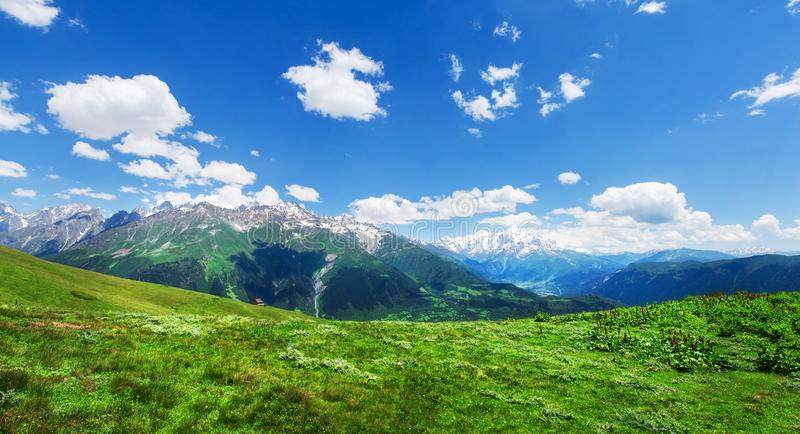 Alpine grüne Gebirgstallandschaft lizenzfreie stockfotografie